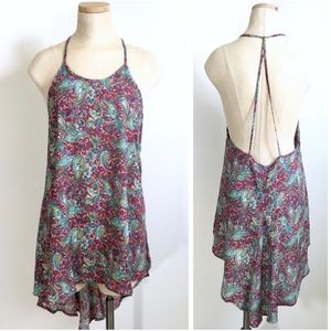 ASTR The Label High Low Paisley Tunic Tank Top